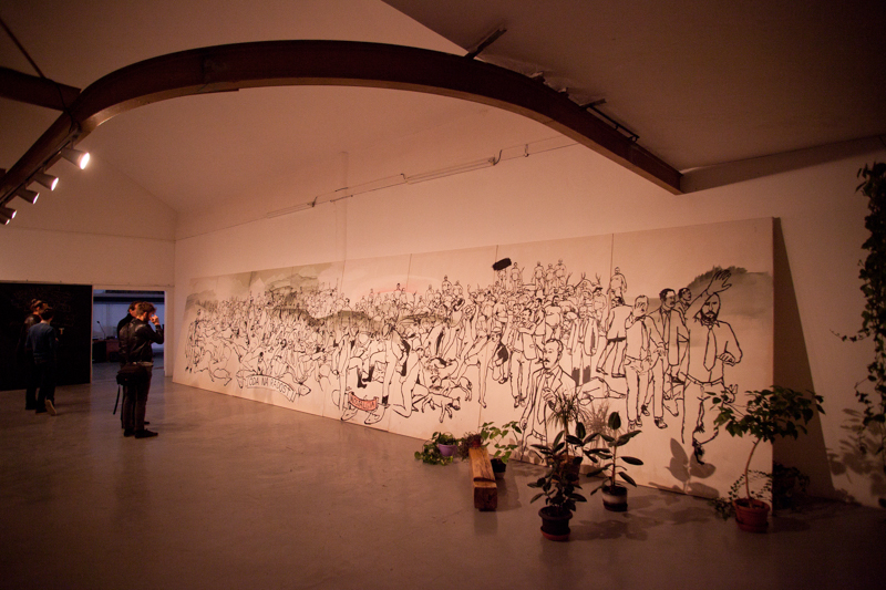 Oda na radost, akryl na platne, 250 x 1200 cm, 2016